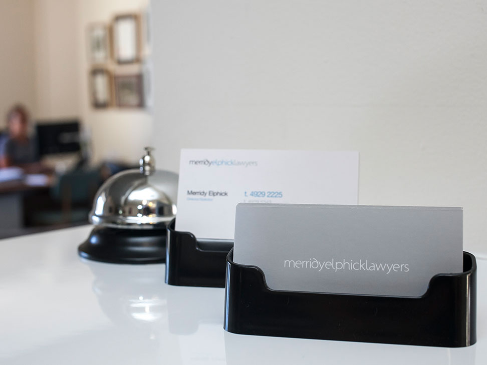 Merridy Elphick Lawyers Business Cards