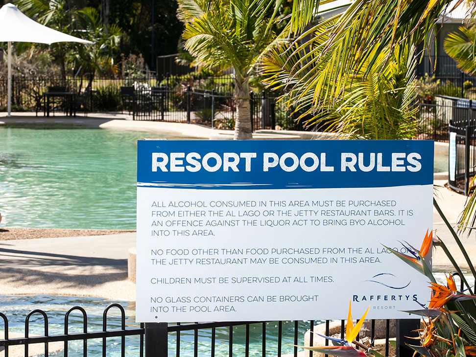 Raffertys Resort Pool Rules Sign