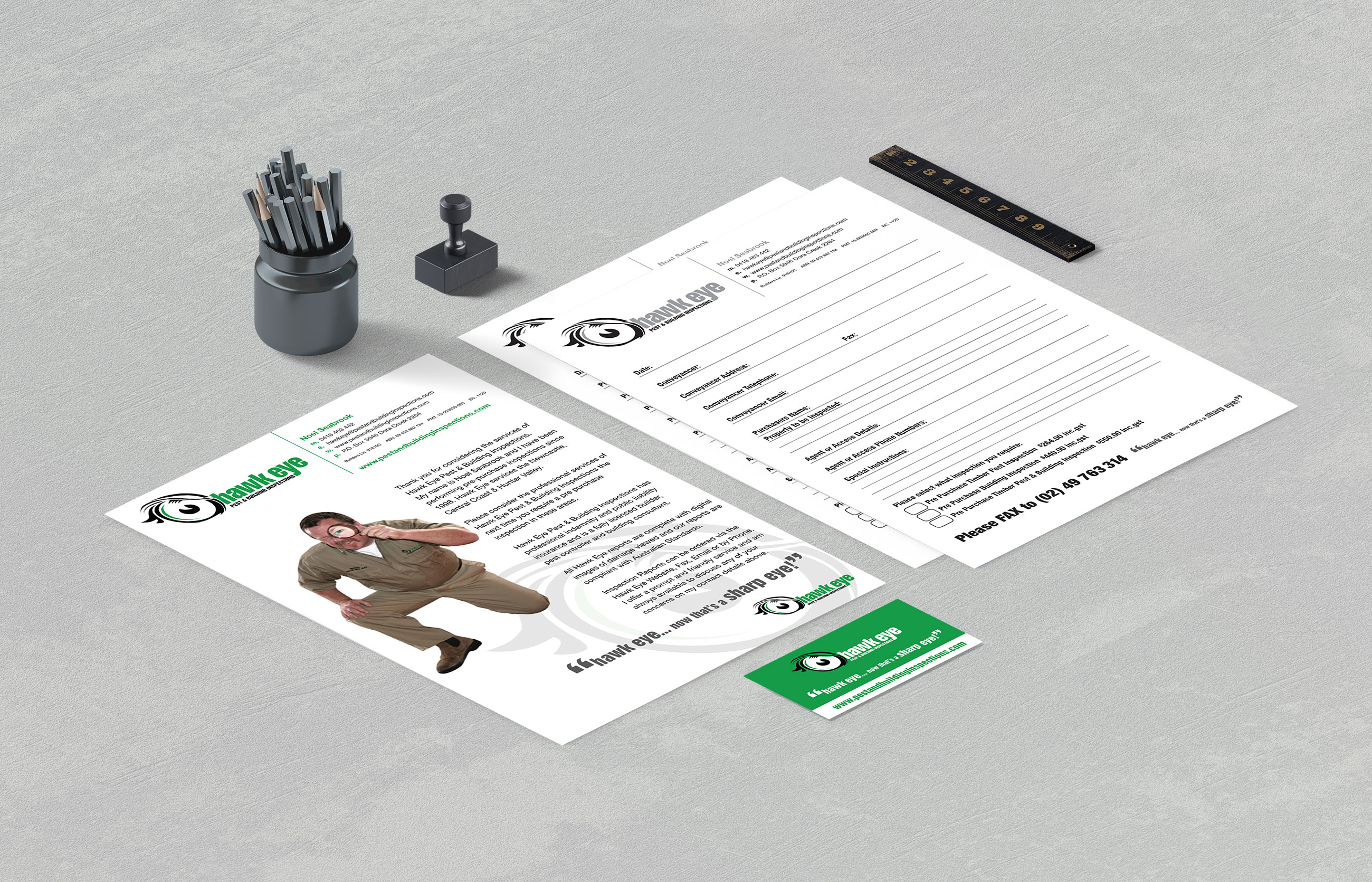 Hawk Eye Pest & Building Inspections Stationery