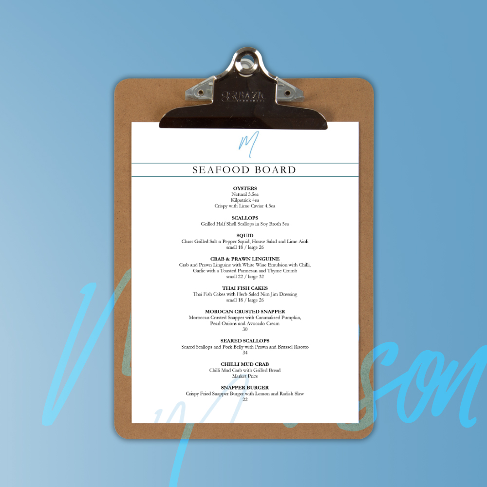 Mawson Restaurant Menu