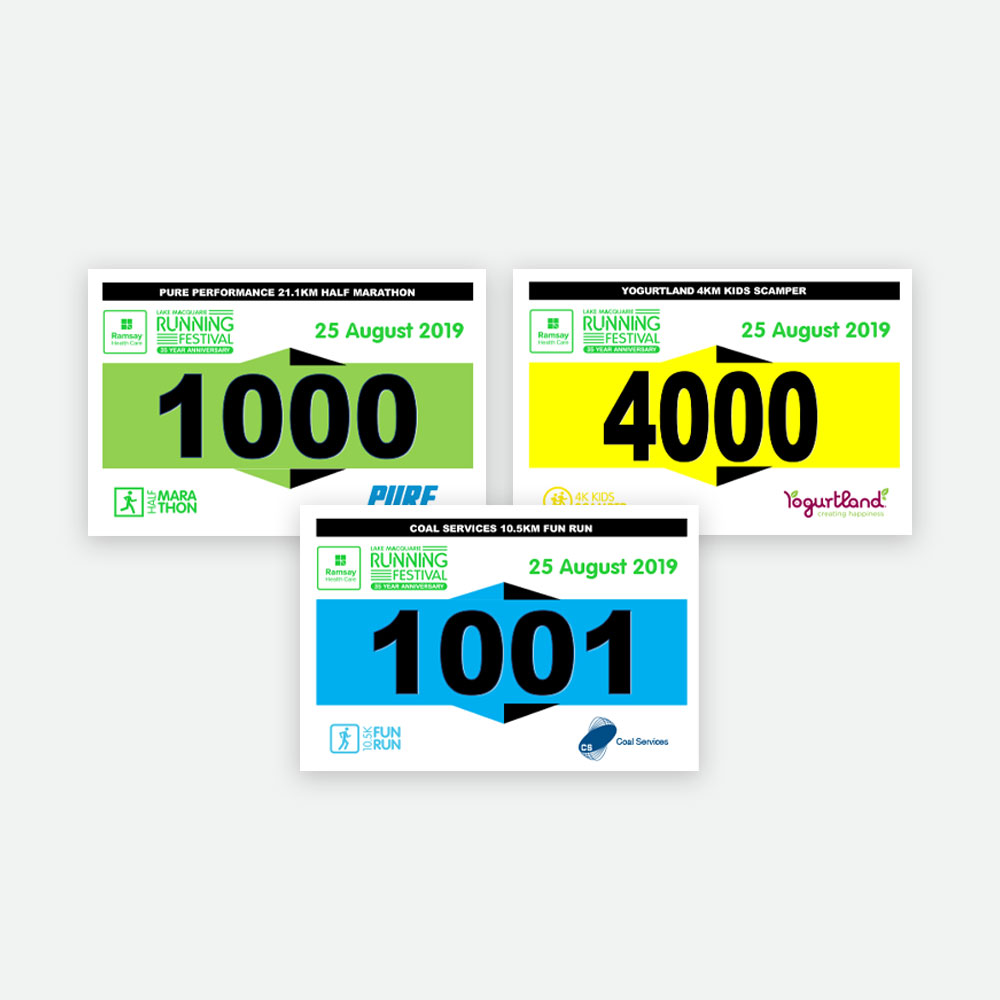 Lake Macquarie Running Festival Bibs