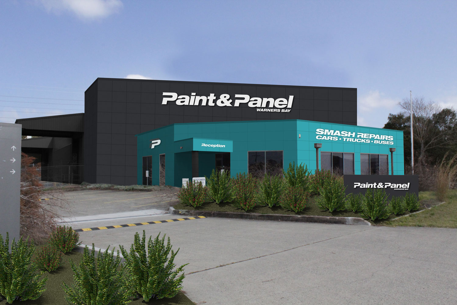 Warners Bay Paint & Panel Building Signage After